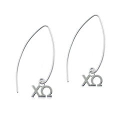 Chi Omega Silver Fishhook Earrings