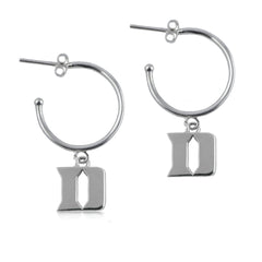 NCAA Duke Blue Devils Silver Hoop Earrings