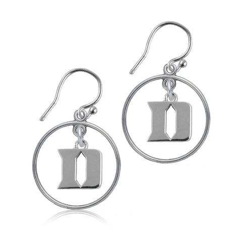 NCAA Duke Blue Devils Silver Open Drop Earrings
