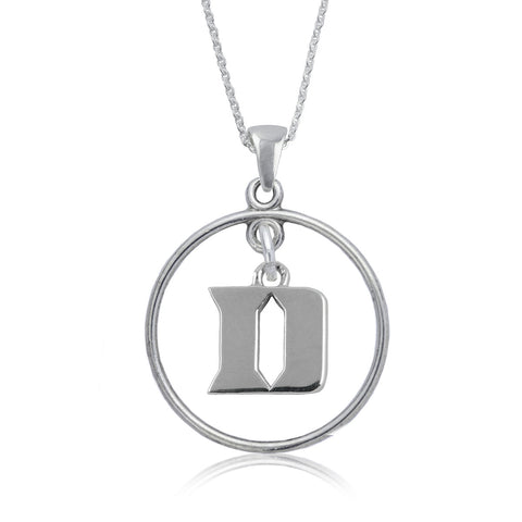 NCAA Duke Blue Devils Silver Open Drop Necklace