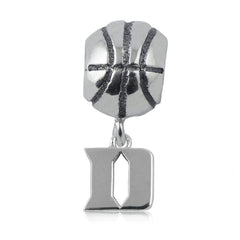NCAA Duke Blue Devils Silver Basketball Charm Bead