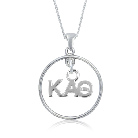 Kappa Alpha Theta Silver Open Drop Necklace