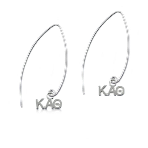 Kappa Alpha Theta Silver Fishhook Earrings