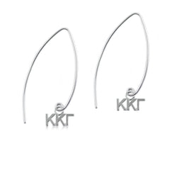 Kappa Kappa Gamma Silver Fishhook Earrings