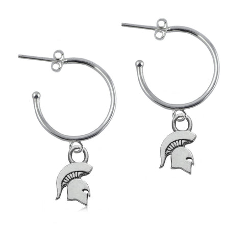 NCAA Michigan State Spartans Silver Hoop Earrings