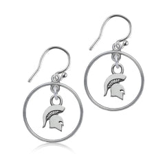 NCAA Michigan State Spartans Silver Open Drop Earrings