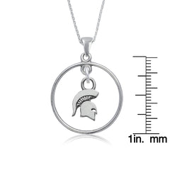 NCAA Michigan State Spartans Silver Open Drop Necklace