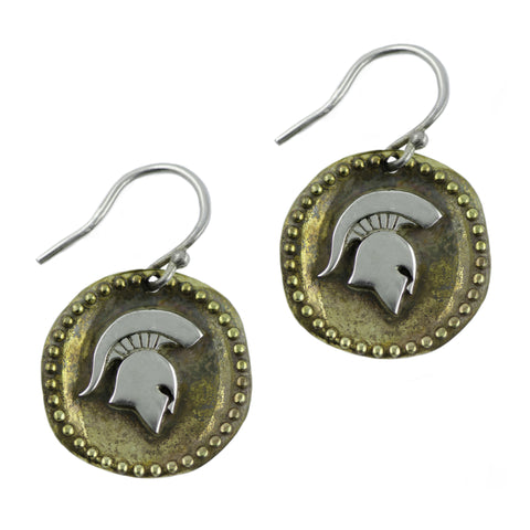 NCAA Michigan State Spartans Antique Coin Silver Earrings
