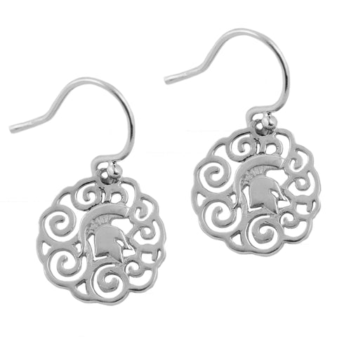 NCAA Michigan State Spartans Silver Filigree Earrings