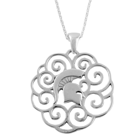 NCAA Michigan State Spartans Silver Filigree Necklace