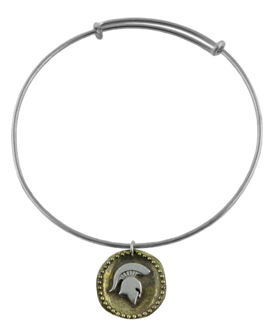 NCAA Michigan State Spartans Antique Coin Silver Adjustable Bracelet