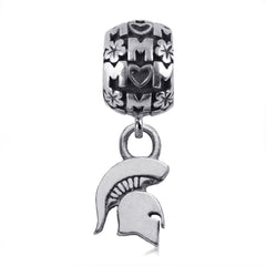 NCAA Michigan State Spartans Silver Mom Charm Bead
