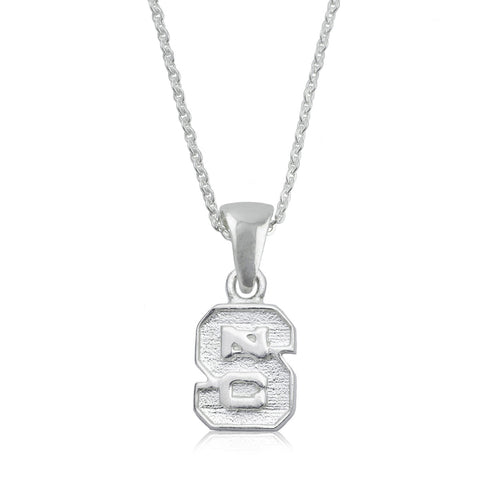 NCAA NC State Wolfpack Block S Silver Necklace