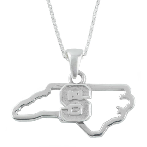 NCAA NC State Wolfpack Block S Silver State Outline Necklace