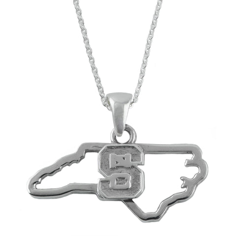 NCAA NC State Wolfpack  Silver State Outline Necklace