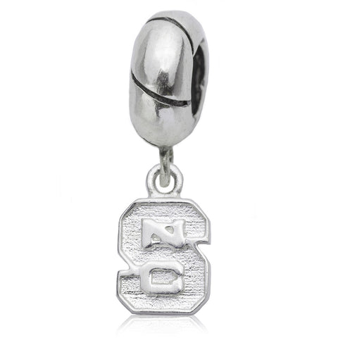 NCAA NC State Wolfpack Block S Silver Charm Bead