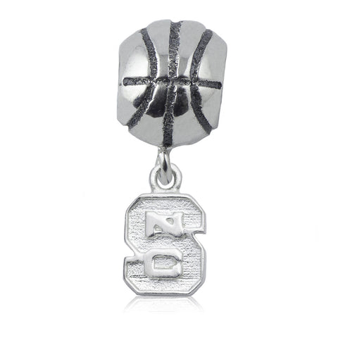 NCAA NC State Wolfpack Block S Silver Basketball Charm Bead