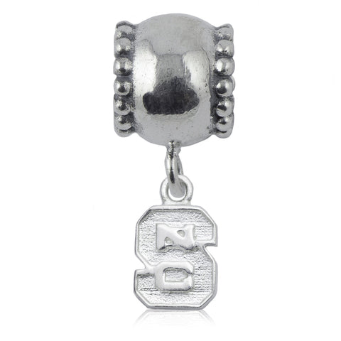 NCAA NC State Wolfpack Block S Silver Daisy Charm Bead