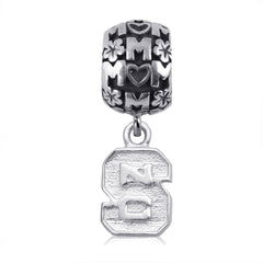 NCAA NC State Wolfpack Block S Silver Mom Charm Bead