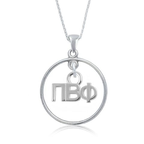 Pi Beta Phi Silver Open Drop Necklace