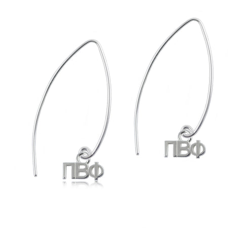 Pi Beta Phi Silver Fishhook Earrings