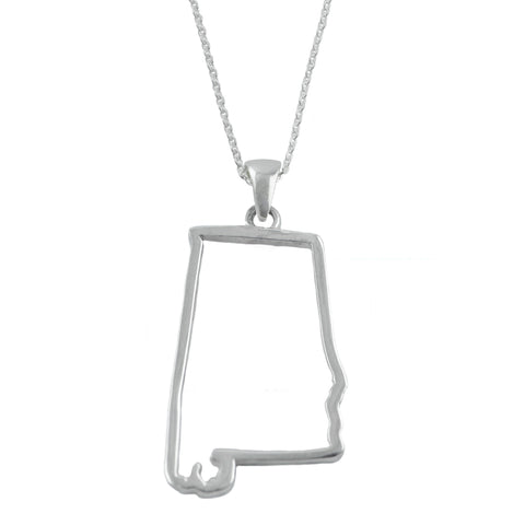 Alabama State Outline Silver Necklace