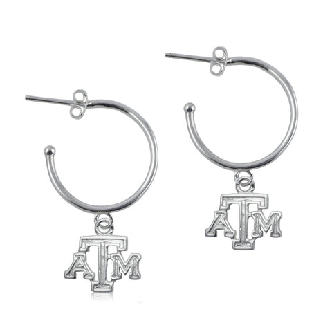 NCAA Texas A&M Aggies Silver Hoop Earrings