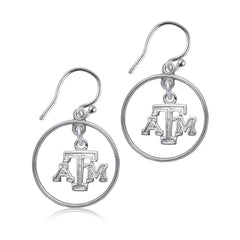 NCAA Texas A&M Aggies Silver Open Drop Earrings