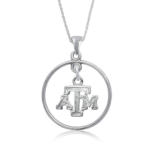 NCAA Texas A&M Aggies Silver Open Drop Necklace
