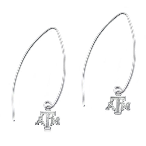NCAA Texas A&M Aggies Silver Fishhook Earrings