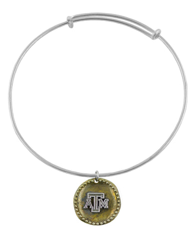 NCAA Texas A&M Aggies Antique Coin Silver Adjustable Bracelet