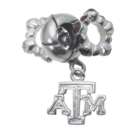 NCAA Texas A&M Aggies Sterling Silver Crystal Charm Bead Set