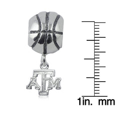 NCAA Texas A&M Aggies Silver Basketball Charm Bead