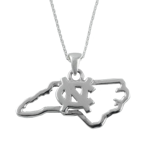 NCAA UNC Tar Heels Silver State Outline Necklace