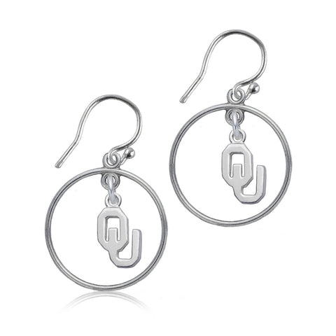 NCAA Oklahoma Sooners Silver Open Drop Earrings