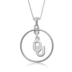 NCAA Oklahoma Sooners Silver Open Drop Necklace