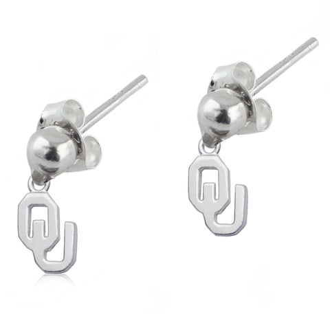 NCAA Oklahoma Sooners Silver Post Dangle Earrings