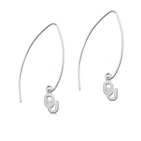 NCAA Oklahoma Sooners Silver Fishhook Earrings