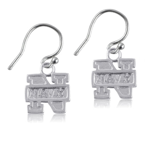 NCAA Navy Midshipmen Silver Earrings