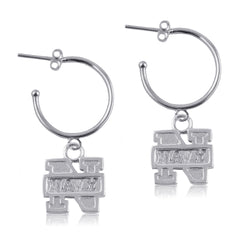 NCAA Navy Midshipmen Silver Hoop Earrings