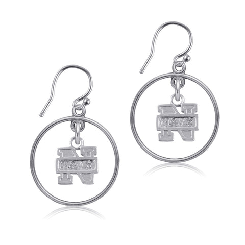 NCAA Navy Midshipmen Silver Open Drop Earrings