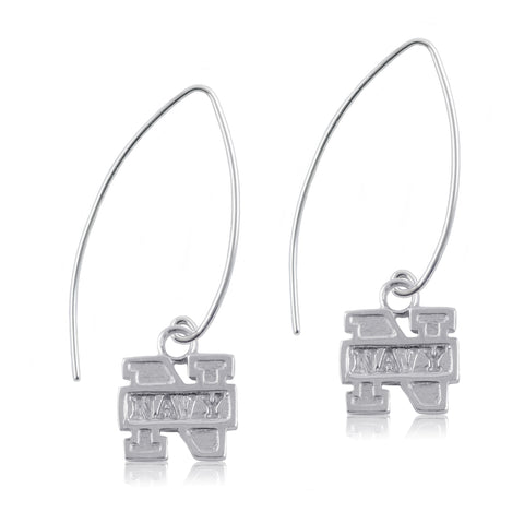 NCAA Navy Midshipmen Silver Fishhook Earrings