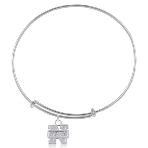 NCAA Navy Midshipmen Silver Adjustable Bracelet