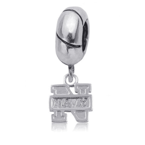 NCAA Navy Midshipmen Silver Charm Bead
