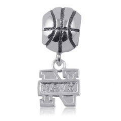 NCAA Navy Midshipmen Silver Basketball Charm Bead