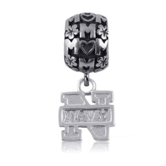 NCAA Navy Midshipmen Silver Mom Charm Bead