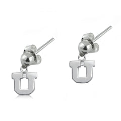 NCAA Utah Utes Silver Post Dangle Earrings