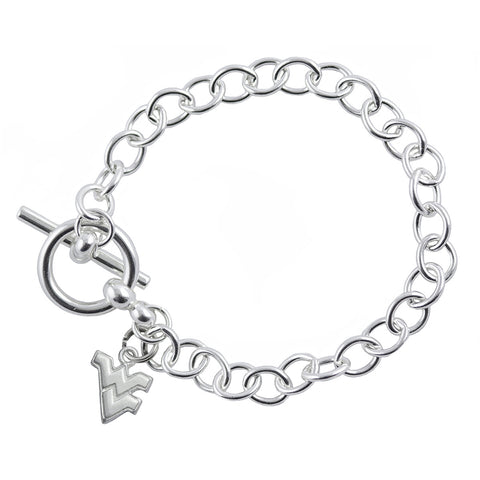 NCAA West Virginia Mountaineers Silver Link Bracelet