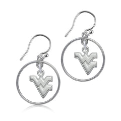 NCAA West Virginia Mountaineers Silver Open Drop Earrings