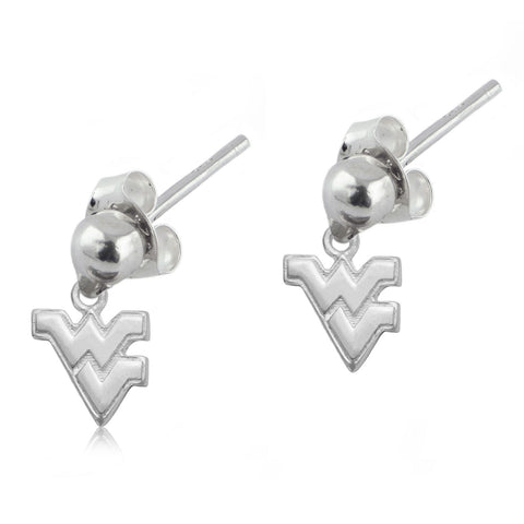 NCAA West Virginia Mountaineers Silver Post Dangle Earrings